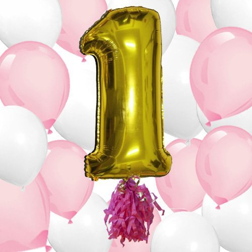 1st Girls Birthday Party Big First Birthday Ballon Bouquet Kit 40 Gold Mylar Number 1 with 10 Pink & 10 White Helium Latex Balloons by Washunga Fun! by Washunga Fun