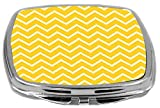 Rikki Knight Compact Mirror, Deep Yellow Chevron Zig Zag Stripes