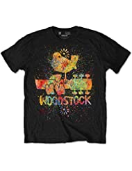 Rock Off Trade groß schwarz Herren Woodstock Splatter T-Shirt
