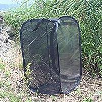 Jaula de hábitat de mariposa plegable, Jaula de hábitat de insecto plegable Terrario emergente, Puerta con cremallera fácil, Negro