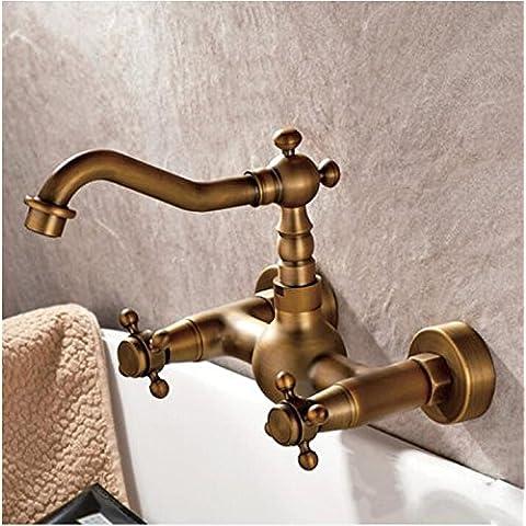 Kiss★ A parete rame generale calde e fredde Rubinetti antichi per foro doppio bagno , a1