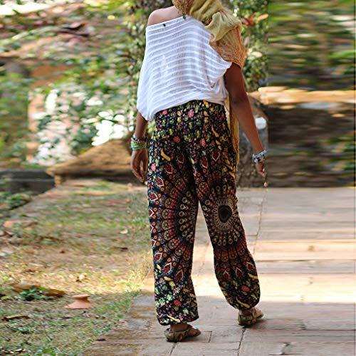 CAOQAO Le Signore Allentano la Vita Alta Casuale Boho Allentano i Pantaloni del Harem di Yoga/i Pantaloni di Allungamento di Esercizio di Yoga/Multicolore/Taglia Unica