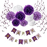 Geburtstag Dekoration Set, Recosis Happy Birthday girlande mit Spiralen Dekoration und Seidenpapier Pompoms Kindergeburtstag Deko für Mädchen und Jungen Jeden Alters - Violett , Lavendel und Weiß