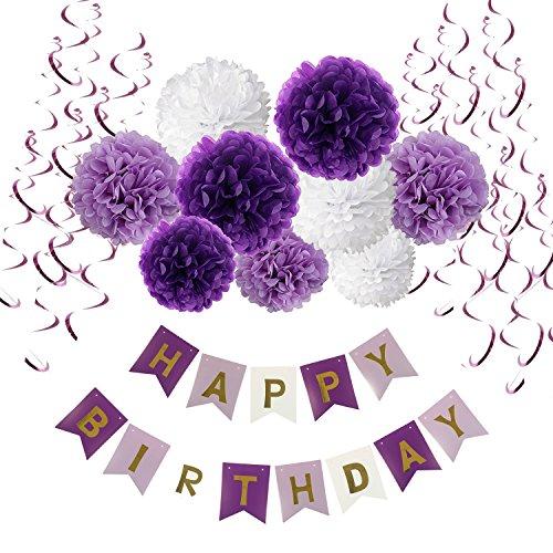 Geburtstag Dekoration Set, Recosis Happy Birthday girlande mit Spiralen Dekoration und Seidenpapier Pompoms Kindergeburtstag Deko für Mädchen und Jungen Jeden Alters - Violett , Lavendel und Weiß