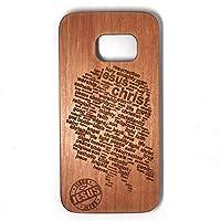 BTHEONE 2017 New Pattern Galaxy S7 Edge Case Wooden Case, Genuine Real Wood Case for Galaxy S7 Edge 5.5 inch - Handmade Wood Cherry-Jesus