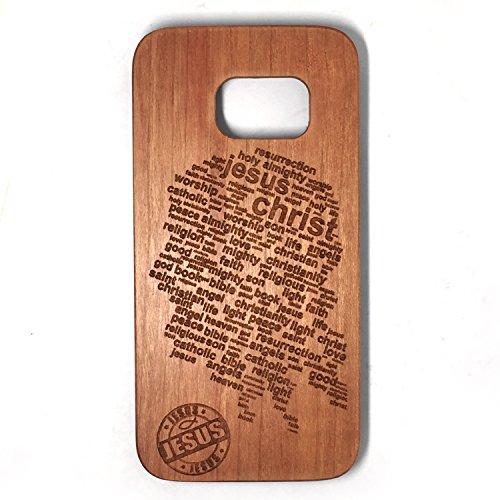 Cover Galaxy S7 Edge, Custodia Samsung S7 Edge, Custodia Case Cover di legno Naturale per Samsung Galaxy S7 Edge(5.5 Pollici)Bumper Rigida Cellulare Cover Protettiva in vero Legno Wood(Jesus)