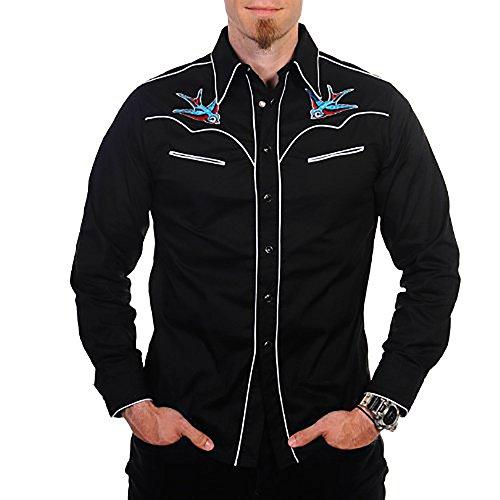 Banned Hemd SWALLOW SHIRT black-white Black