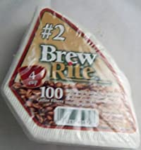 Brew Rite 4-Cup Cone Coffee Filter #2 Disposable, 100-count