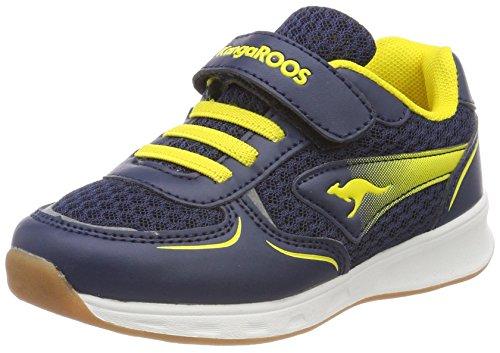 KangaROOS Unisex-Kinder Roji EV Sneaker, Blau (Dk Navy/Sun Yellow), 27 EU