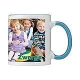 Tasse mit persönlichem Foto und Text zum selbst gestalten (Fototasse, hochwertiger Kaffeebecher, individueller Druck,farbiger Henkel und Trinkrand, mit personalisierbarem Foto, spülmaschinenfest) (Standard, hellblau)