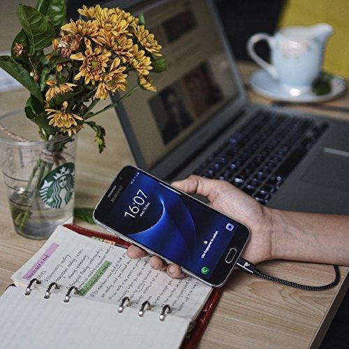 Micro USB Kabel Nylon 1m [2-Stück] - Rampow® 2,4 A [ USB Schnellladekabel ] geflochtenes Samsung USB Ladekabel - Hochgeschwindigkeit Sync und Ladekabel für Android Smartphones, Samsung Galaxy, HTC, Huawei, Sony, Nexus, Nokia, Kindle und mehr - Space Grau