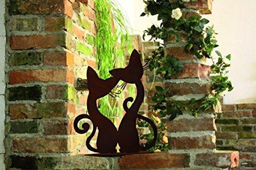 Ferrum Edelrost Katzenpärchen auf Platte Rost Katze Metall Garten Skulptur Tier