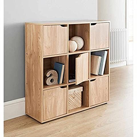 9 Cube MDF Oak Finish Standing Shelf / Shelves 5 Doors 4 Open Cubes Bookcase Office Home Storage by
