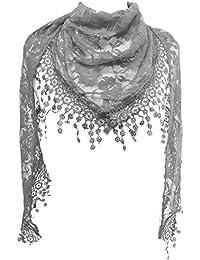 GFM - Pañuelo, diseño triangular con patrón floral o de rosas y flecos y lazo, verano
