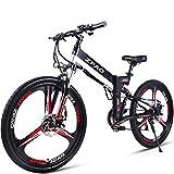 GTYW 26 Zoll Elektrischer Klapprad Mountainbike Für Erwachsene Fahrrad Elektrischen Lithium Erwachsener Folding Elektro-Mini-Motorrad 90km Batterie-Lebensdauer,Black-180*102*65cm