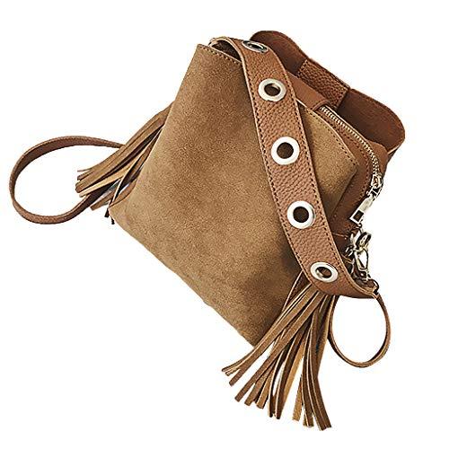 Linkay Neuer HeißEr Verkauf Mode Wild Damen Tasche Vintage Eimer-Tasche Handtasche UmhäNgetasche Quaste Retro Rucksack-Braun