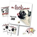 90 Stück Geburtstagseinladungen mit Lolli, fertig gebastelt, Hund zum dreißigsten vierzigsten fünfzigsten sechzigsten, lustig