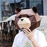 Kiomia Moderne Manuel Assemblée DIY Esthétique Masque Capot Papier Art Animal Ours En Peluche pour Partie Festival Afficher Décoration , bear