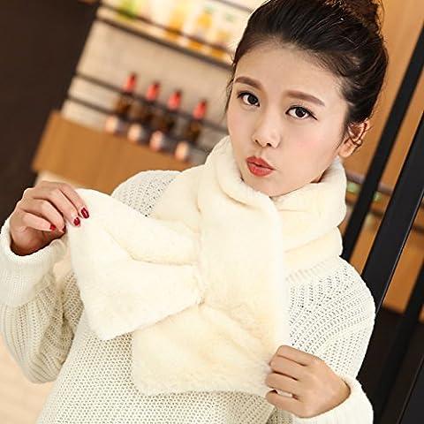 Sciarpa capelli scialle collare Artificiale colletto in pelliccia autunno e inverno sciarpe calde solido colori (White Pattern Sciarpa)