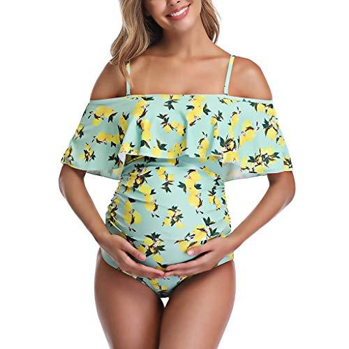 Zolimx Damen Umstands Mutterschaft Hosenträger Früchte drucken Badeanzug Schwangerschaft Ein Stück Bademode -