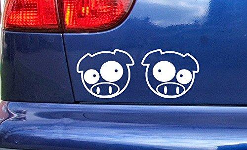 Pro Cut Vinyl JDM Manga Pigs Pair Blanc 75mm x 63mm Voiture fenêtre Vinyle Autocollants décalque Petit Grand Tailles Stickers