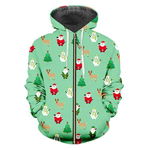 3D gedruckte Santa Claus und Schneemann Mini Tree und Elk Big Zip Hoodiees Santa Claus Snowman XXL (Vans-junioren)