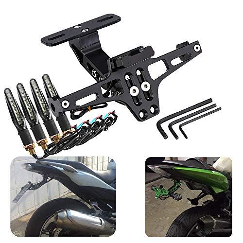 Kennzeichenhalter für Motorrad und Motorrad, universal, verstellbar, mit Licht für 125R S1000R MT07 MT09