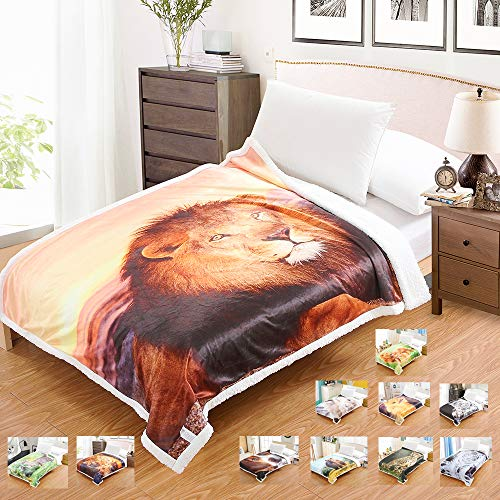 Coperta sherpa matrimoniale divano e letto pile morbida animali reversibile adulto fleece di microfibra per 4 stagione 130x170cm (re leone)