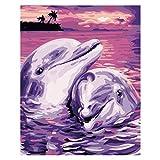 Kein Rahmen Zwei Delphin Tier Ölgemälde Moderne Wandkunst Ölgemälde Kind Geschenk Dekoration ww...