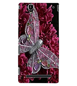 ColourCraft Butterfly & Flowers Design Back Case Cover for SONY XPERIA T2 ULTRA DUAL D5322