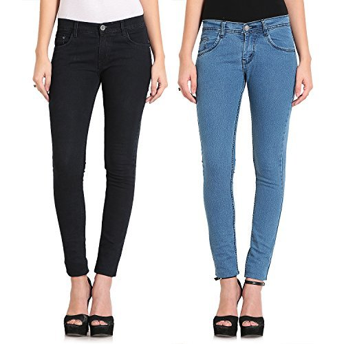 Combo of Two Light Blue & Black Skinny Fit Jeans