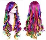 Frauen-Perücke / Party-Perücke, Perückenkappe, gewellt, regenbogenfarben