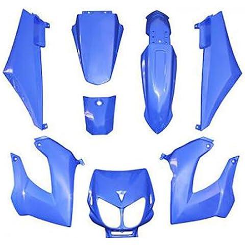 Kit per Carenatura, per Derbi Senda Xtrem pour 50 cc NC 13756, nuovo, blu, 8 pezzi con comprendente scocca destra/ scocca sinistra/piastra per Fanale/Parafango anteriore/parafango posteriore/parafango nascosto laterale destro e sinistro/Tappo