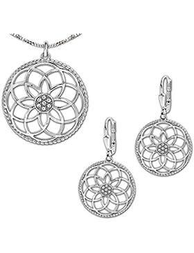 CLEVER SCHMUCK-SET Silberner großer Anhänger Mandala Ø 40 mm Blume des Lebens mit vielen Zirkonias, passende Ohrhänger...