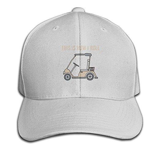 UUOnly So Rolle ich Golf Cart Lustige Golfspieler Verstellbare Baseballmützen Unstrukturierte Papa Hut 100% Baumwolle Schwarz