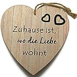 Bada Bing Holzschild Herz 16 x 17 CM Naturbelassenes Holz Bild Schild Wandbild Motivation Spruch Muttertag Geschenk Frau Trend 69 (Zuhause ist, wo die Liebe wohnt)