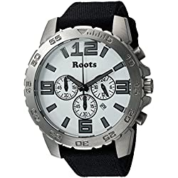 Roots Men's 'Core' Quartz Stainless Steel and Canvas Casual Watch, Color:Black (Model: 1R-LF604WH6B)