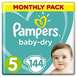 Pampers Baby-Dry Size 5, 144 Nappies, 11-16 kg, Air Channels for Breathable Dryness Overnight, Monthly Pack