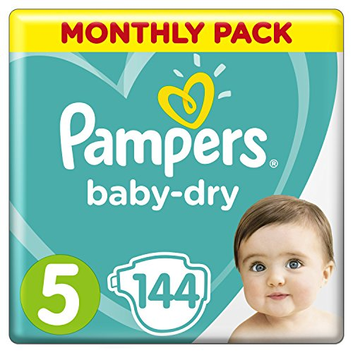 Pampers Baby-Dry Size 5, 144 Nappies, 11-23 kg, Air Channels for Breathable Dryness Overnight, Monthly Pack