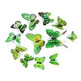 FORH 12 PCS 3D Schmetterlinge Wanddeko Aufkleber Abziehbilder Wand Aufkleber Hauptdekorationen Wandtattoo Schmetterlings Regenbogen Wand-dekor Kinder Baby Schlafzimmer Deko (Grün A)
