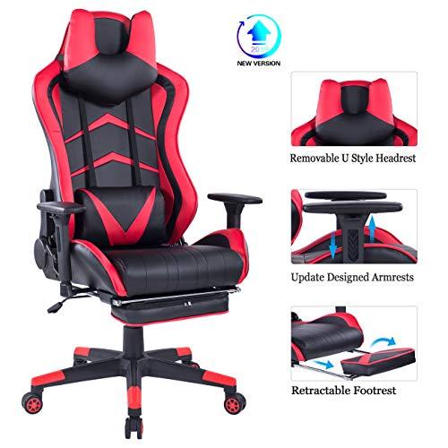HEALGEN Gaming-Stuhl mit einziehbarer Fußstütze, Gamer-Stuhl, Renn-Stil, Gaming-Stühle, PC Computer, Videospiel, hohe Rückenlehne, ergonomischer Bürostuhl mit Kopfstütze, Lendenwirbelstütze rot (Stühle Teen Gaming Für)