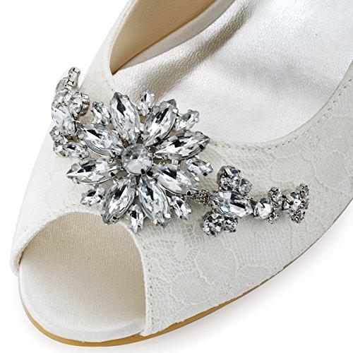 Elegantpark EP11013 Bout Ouvert Dentelle Mittler Absatz Femme Chaussures de Mariage Dentelle AB01 Ivoire