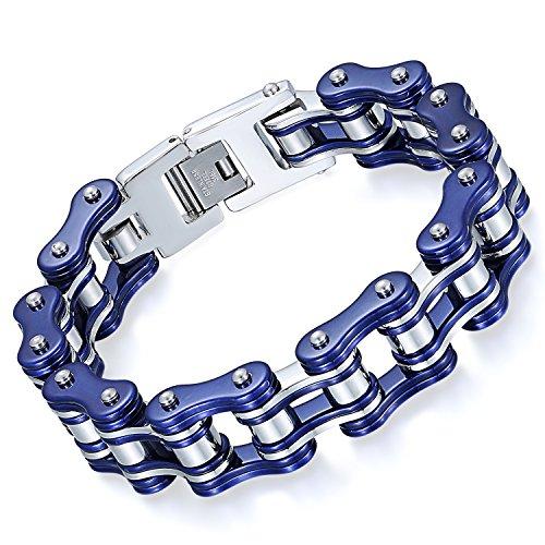 OIDEA Herren Armband Edelstahl Fahrradkette blau Silber 16mm Breite Armreif Armschmuck Armkette Handgelenk Biker Motorradkette