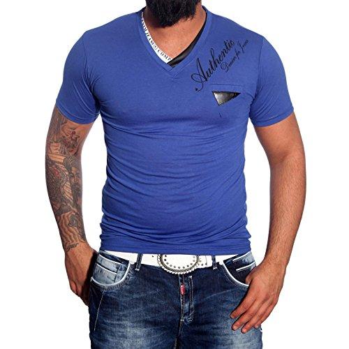 Baxboy Herren Hemd Kurzarm V-Neck Designer Polo T-Shirts Slim Fit Shirt JP-917 Blau