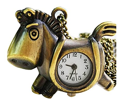 New Little Horse Taschenuhr Pocket Watch Chain Necklace Alloy Antique