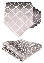 Idea Regalo - HISDERN Dai un'occhiata Cravatta da sposa Fazzoletto Cravatta da uomo & Pocket Square Set Beige / bianco