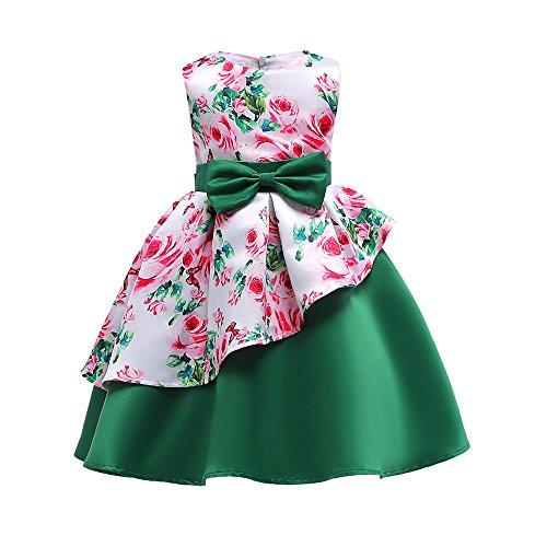 Baumwolle bunt Flickwerk Blumen Prinzessin Kleider Ärmellos blusen Bowknot Mode Hochzeit Dress Mädchen Gemütlich Party Oberteile Kleid,2-8 Jahren alt (8 Jahren, C - Grün) ()