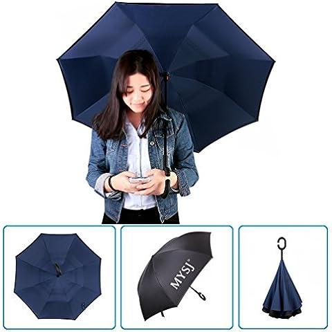 Innovativo Retro Ombrello Ombrello speculare, doppio strato, mysj creative auto Reverse ombrello dritto impermeabile e autoportante Inside Out ombrello compatto da viaggio con manico