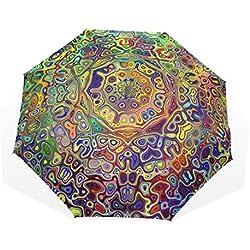 Paraguas Grande Colorido y psicodélico Mandala Fractal