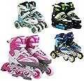 Inline Skates Kinder Erwachsene | SportVida | Inliner 4in1 | Verstellbare Schlittschuhe | Triskates Größenverstellbar ABEC7 Lager | Rollschuhe in Größen 31-42 | Pink Blau Grün Türkis